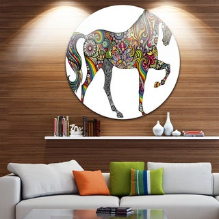 Designart 'Rainbow Patterned Horse' Animal Digital Art Large Disc Metal Wall art