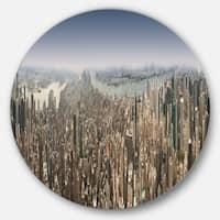 Designart 'NYC 360 Degree Panorama' Cityscape Photography Round Metal Wall Art