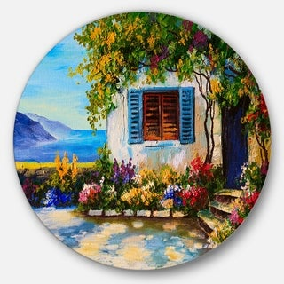 Designart 'House Near Sea Oil Painting' Landscape Painting Round Wall Art