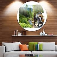 Designart 'Green Landscape with Horse' Digital Art Disc Metal Artwork