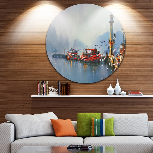 Designart 'Fishing Boats in Harbor' Landscape Painting Circle Wall Art