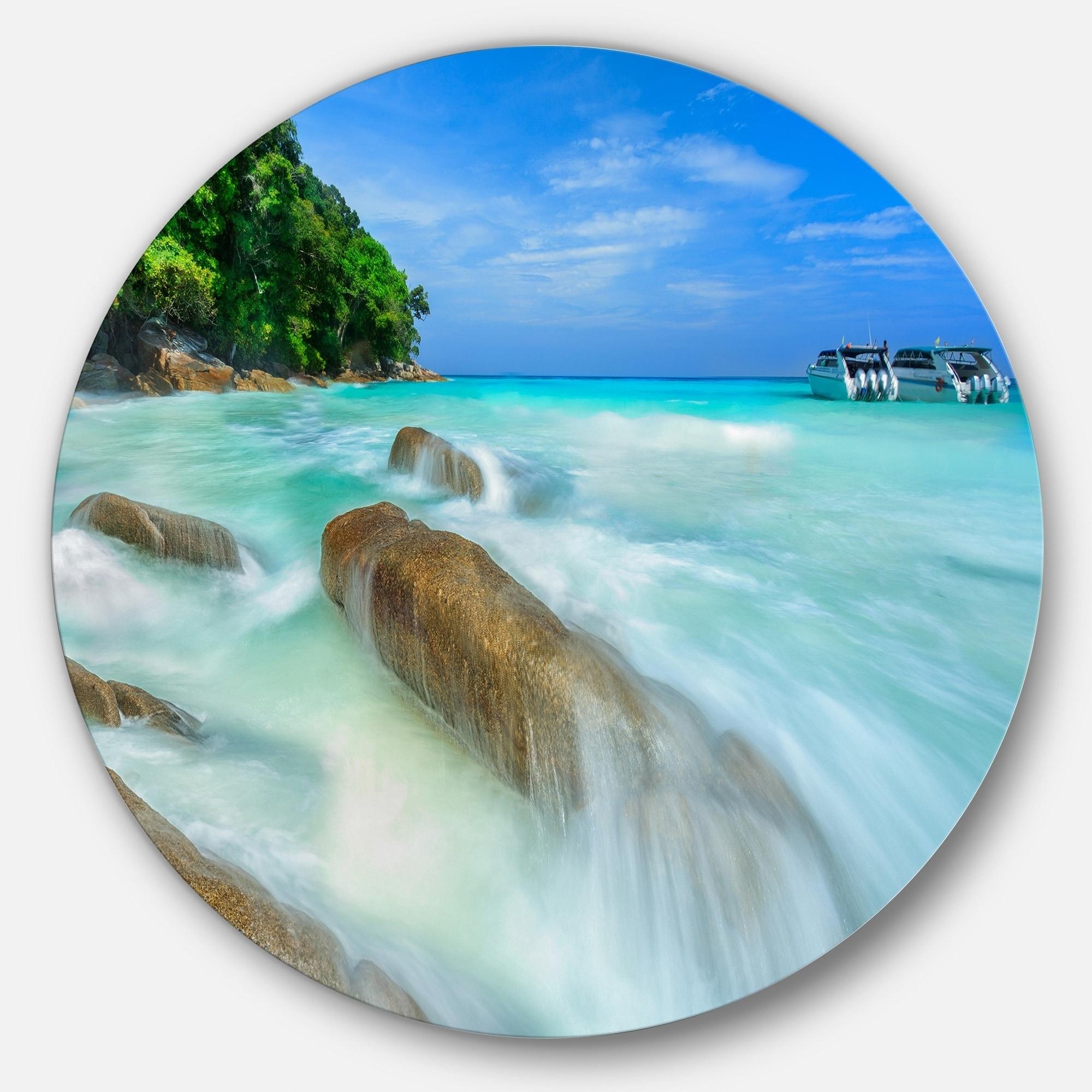 Designart Tachai Island In Thailand Landscape Photo Round Metal Wall Art Overstock 14264582