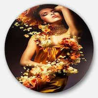 Designart 'Sensual Woman in Flower Robes' Portrait Digital Disc Metal Artwork