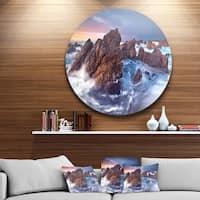 Designart 'Rugged Beauty Landscape' Photography Large Disc Metal Wall art