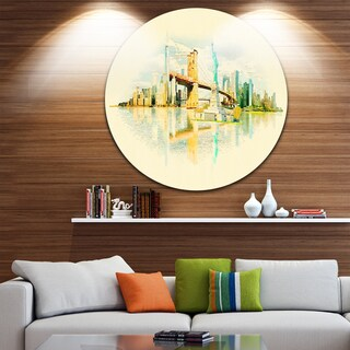 Designart 'New York Panoramic View' Cityscape Watercolor Circle Wall Art (4 options available)