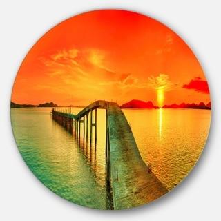 Designart 'Fabulous Sunset Panorama' Photo Seascape Round Metal Wall Art