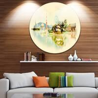 Designart 'Tokyo Panoramic View' Cityscape Watercolor Large Disc Metal Wall art