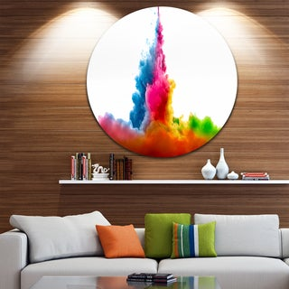 Designart 'Rainbow Colors Explosion' Abstract Watercolor Round Wall Art
