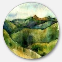 Designart 'Green Mountains Watercolor' Landscape Painting Disc Metal Artwork