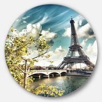 Designart 'Vegetation Near Eiffel Tower' Landscape Photo Circle Wall Art