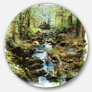 Designart 'Stream in the Forest' Landscape Painting Circle Wall Art