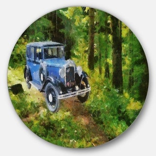 Designart 'Blue Vintage Car Oil Painting' Car Painting Round Metal Wall Art