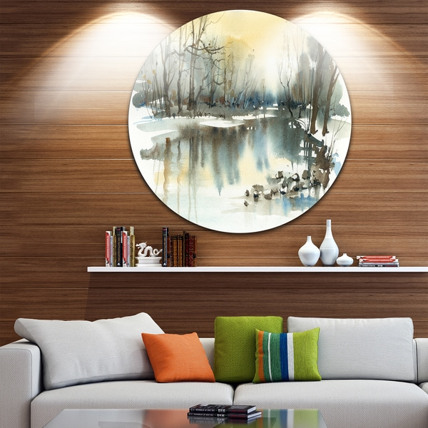 Designart 'River in Winter' Landscape Painting Round Metal Wall Art