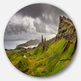 Designart 'Storr Mountains Panorama' Landscape Photo Large Disc Metal Wall art