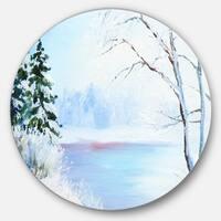 Designart 'Frozen River Oil Painting' Landscape Painting Large Disc Metal Wall art