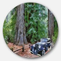 Designart 'Vintage Car in Forest' Landscape Painting Round Wall Art