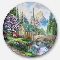 Designart 'Church in Forest Oil Painting' Landscape Painting Disc Metal Wall Art