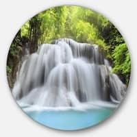 Designart 'White Huai Mae Kamin Waterfall' Large Disc Metal Wall art