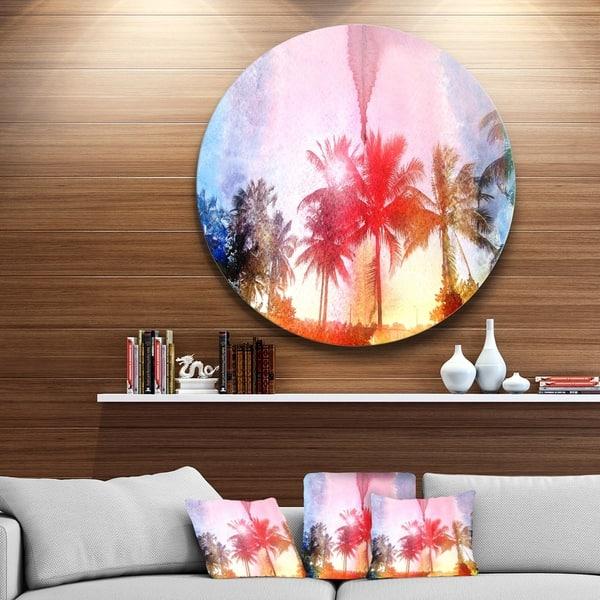 Designart Retro Palm Trees Long View Landscape Large Disc Metal Wall Art Overstock 14264658