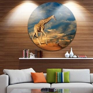 Designart 'Giraffe on Sand Dune' Animal Photography Large Disc Metal Wall art