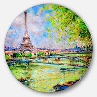 Designart 'Colorful Painting of Eiffel' Landscape Circle Wall Art
