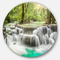 Designart 'Kanchanaburi Erawan Waterfall' Photo Disc Metal Artwork
