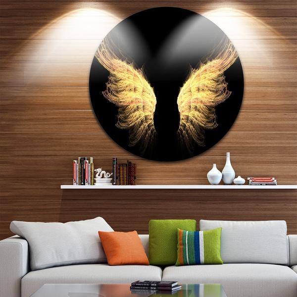 Designart 'H*ll Gold Wings' Abstract Digital Art Large Disc Metal Wall art