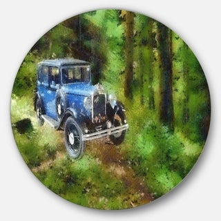 Designart 'Dark Blue Vintage Car Oil Painting' Car Painting Large Disc Metal Wall art