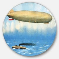 Designart 'Airship Illustration' Digital Art Round Wall Art