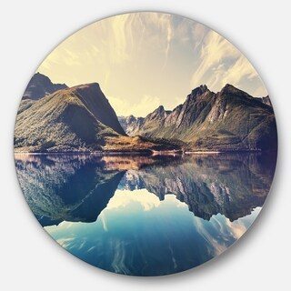 Designart 'Norway Summer Mountains' Landscape Photo Disc Metal Wall Art