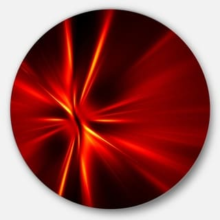 Designart 'Red and Yellow Rays' Abstract Digital Art Round Wall Art