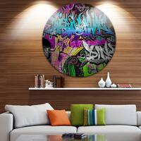Designart 'Graffiti Wall Urban Art' Abstract Street Art Circle Wall Art