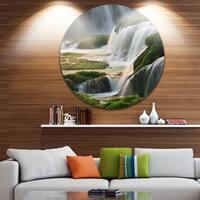 Designart 'Detian Waterfall' Landscape Photography Large Disc Metal Wall art