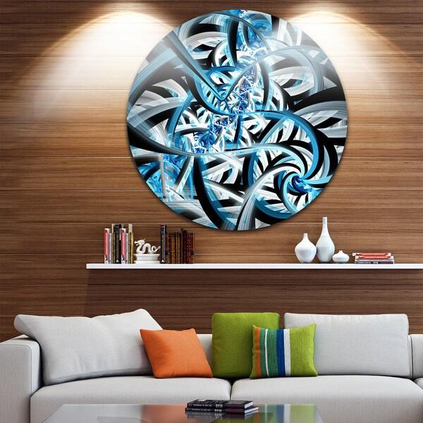 Designart 'Blue Spiral Fractal Design' Abstract Digital Art Disc Metal Wall Art