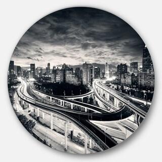 Designart 'Dark Shanghai City' Cityscape Photography Disc Metal Wall Art