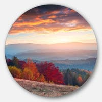 Designart 'Sunrise in Carpathian Mountains' Landscape Photo Disc Metal Wall Art