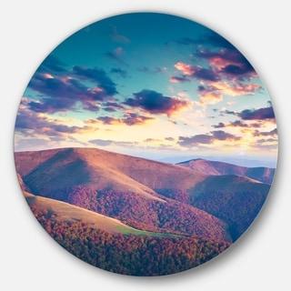 Designart 'Carpathian Hills Under Clouds' Landscape Photo Disc Metal Artwork