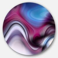 Designart 'Beautiful Texture of Blue Purple' Abstract Digital Round Metal Wall Art