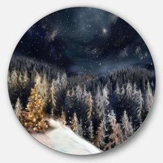 Designart 'Night Forest Christmas Tree' Landscape Digital Circle Wall Art