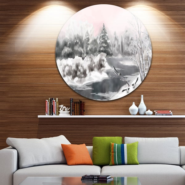 Designart 'Grey Winter Vector' Landscape Watercolor Large Disc Metal Wall art