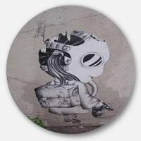 Designart 'Rat Catcher Robot' Street Art Disc Metal Wall Art