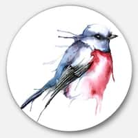 Designart 'Bird in Blue and Red' Watercolor Animal Round Wall Art