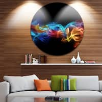 Designart 'Fire in Colors' Abstract Digital Art Round Metal Wall Art