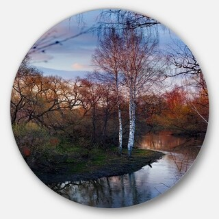 Designart 'Forest River in the Spring' Landscape Photo Round Wall Art