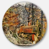 Designart 'Train in Forest Oil Painting' Landscape Painting Disc Metal Wall Art