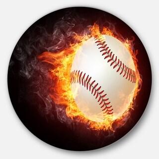 Designart 'Baseball Ball' Sports Digital Art Disc Metal Artwork