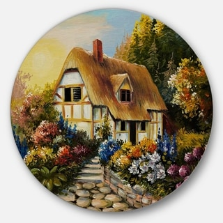 Designart 'Fairy House Oil Painting' Landscape Painting Circle Wall Art
