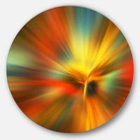 Designart 'Yellow Focus Color' Abstract Digital Art Round Metal Wall Art