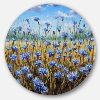 Designart 'Blue Flowers in Meadow Painting' Floral Painting Large Disc Metal Wall art