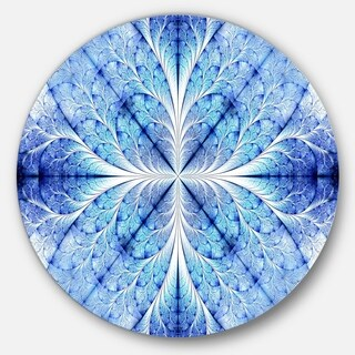 Designart 'Symmetrical Light Blue Pattern' Digital Floral Art Disc Metal Wall Art